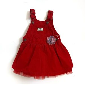 OshKosh B'gosh Overall's Dress Size 18 Months Red